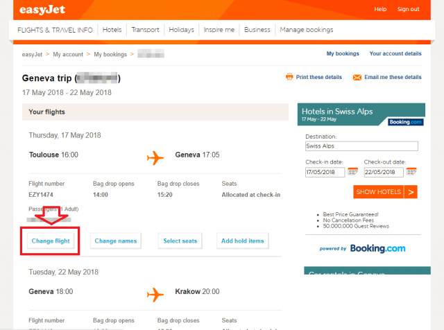 easyJet Manage Booking の画面